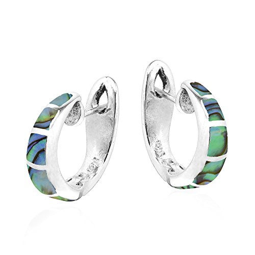 Simple Elegance Abalone Shell Inlay .925 Sterling Silver Huggie -