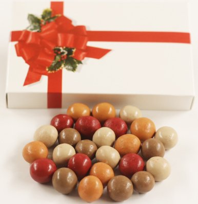 Scott's Cakes Fall Harvest Gourmet Chocolate Malt Balls in a 8 oz. Ribbon-n-Holly Box