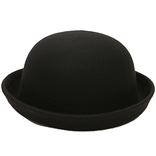Lujuny Cute Kid Wool Bowler Hats - Trendy Derby Caps With Roll-up Brim For Girls Boys (Classical Black) -