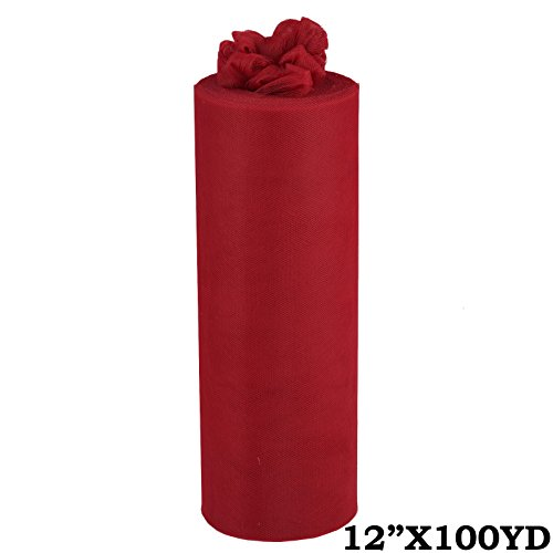 BalsaCircle 12-Inch x 300 feet Burgundy Tulle Fabric by the Bolt – Sewing DIY Craft Wedding Party Favors Decorations Costume Supply
