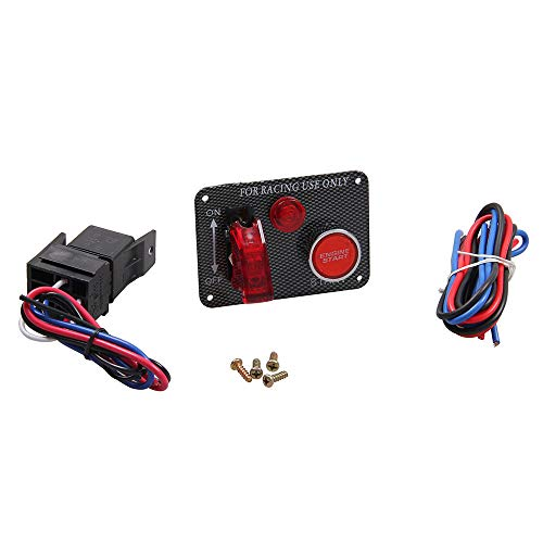 BEESCLOVER Ignition Switch Panel Push Button Engine Start with Key Toggle Racing Car 12V