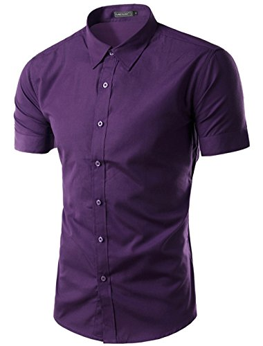 Mada Mens Casual Short Sleeve Business Dress Shirt Solid Slim Fit Shirts  Purple,Asian X-Large/US Small