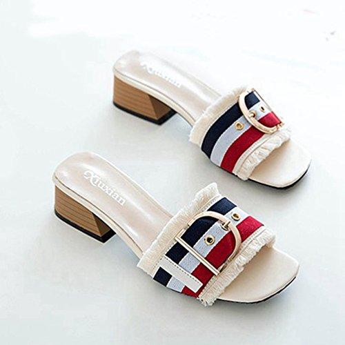 Talon Bas Pantoufle trapu Open Sandales Femmes la Sandale sur Chaussure Glisser Confortable Blanc Toe xqAIRgZwgY