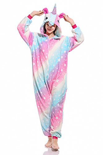 Kids Unicorn Onesie Pajamas Costume for Halloween Cosplay M, Galaxy(Adult) -