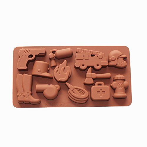 (X-Haibei Fire Fighting Equipment Shape Silicone Chocolate Candy Jello Soap Crayon Mold)