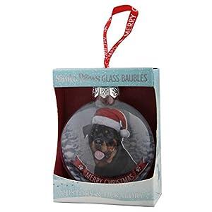 Santa Paws Glass Ornaments Santa Paws Glass Bauble - Rottweiler Ornament, Multi 1