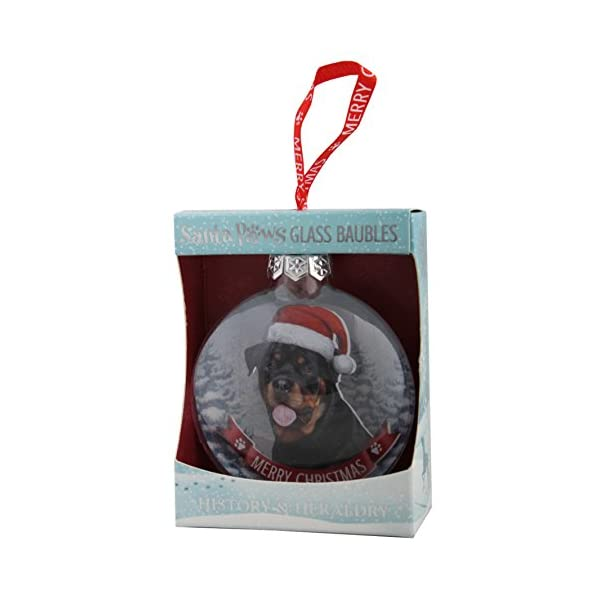 Santa Paws Glass Ornaments Santa Paws Glass Bauble - Rottweiler Ornament, Multi 1