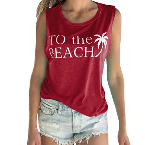 Women's Summer Tops Sleeveless Letter Print Round Neck Off-Shoulder Casual Tunic Loose Blouse Shirts Size S-2XL (XXL, Red)