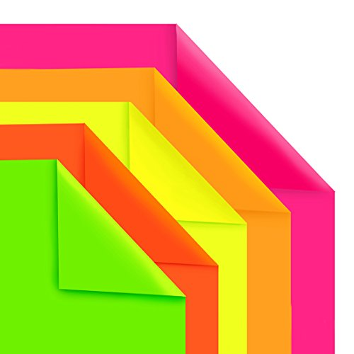 Hygloss Products Fluorescent Poster Board – 25 Neon Colored Poster Board Sheets – 22 x 28 Inches, Assorted Colors