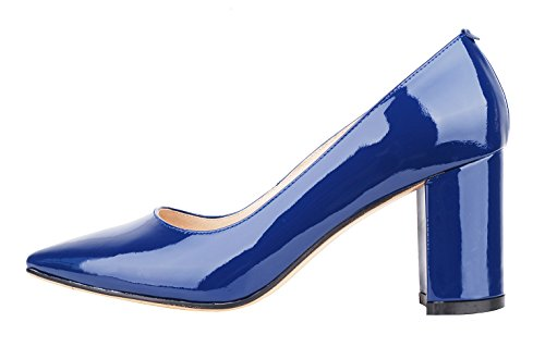 Chunky Comfort blue Women's Queenfoot Heel Elegant Leather Toe Style Dress Court Pump Patent Genuine Shoe Mid B Pointed qEavnaF