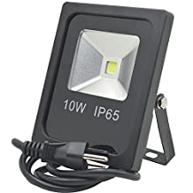 GLW 10W LED Flood Light, 1010lm Daylight(6500K) Outdoor Spotlight, IP65 Waterproof Security Lights with US 3-Plug, 60W Halogen Bulb Equivalent for Garden, Landscape, Garage, Hotel