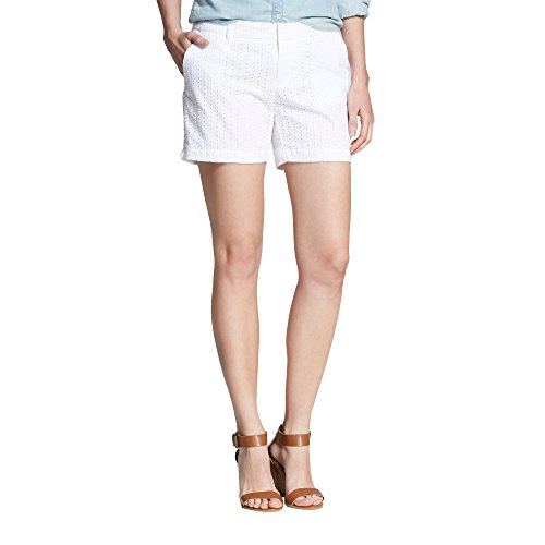 Eyelet Bermuda (7 Encounter Women's Low Rise Casual Stretch Cotton Chino Shorts White Eyelet 5