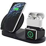 Colorcase 3 in 1 Charging Stand for Apple Watch Airpods 1/2,Airpods Pro,iPhone, Qi Fast Charger Dock with USB Output,Wireless Charging Station Holder
