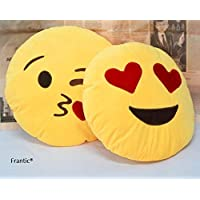 Agnolia Plush Heart Eyes and Flying Kiss Soft Smiley Cushion (Yellow, 35 cm) -Set of 2