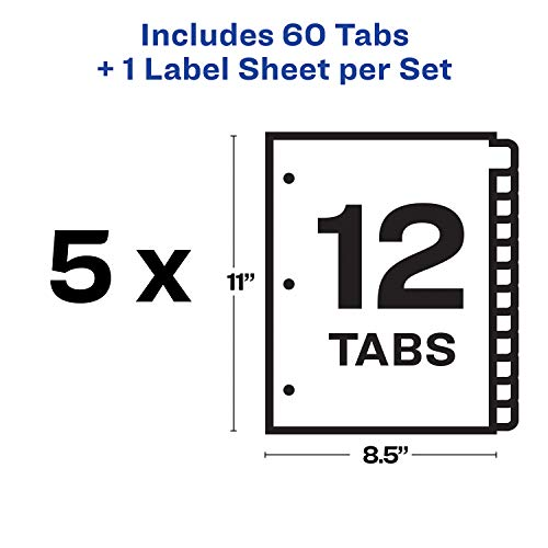 Avery 12-Tab Binder Dividers, Easy Print & Apply Clear Label Strip, Index  Maker, White Tabs, 5 Sets (11437)