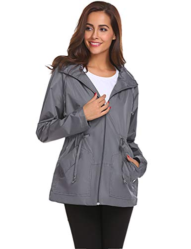 Active Raincoat,Women Light Watertight Solid Rain Jacket Softshell(Gray,L)