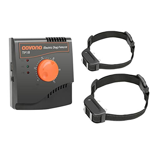 COVONO Electric Dog Fence,Upgraded In Ground Pet Containment System(2 Dogs Underground Invisible Fence,500Ft Wire,Waterproof&Rechargeable Collar,Static/Tone Correction) ()