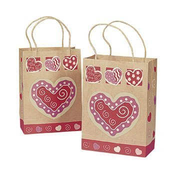 12 Brown Paper Valentine Gift Bags with Heart