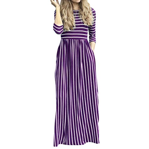 Women's Summer Casual T Shirt Dresses Boho Striped Printed Long Sleeve with Pockets 9 Colors Long Maxi Dress Purple (Nine Tail Contacts)