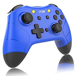 Wireless Pro Controller for Nintendo Switch - JYSW Wireless Remote Controller Gamepad Joypad Joystick for Nintendo Switch Console/Switch Lite, Support Manual & Auto Turbo   Dual Shock   Gyro Axis Blue