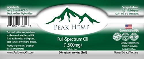 Peak Hemp - Full Spectrum Oil Hemp Extract 6,000mg - (4 Pack) Four 1,500mg 1 oz Bottles by Peak Hemp (Image #1)