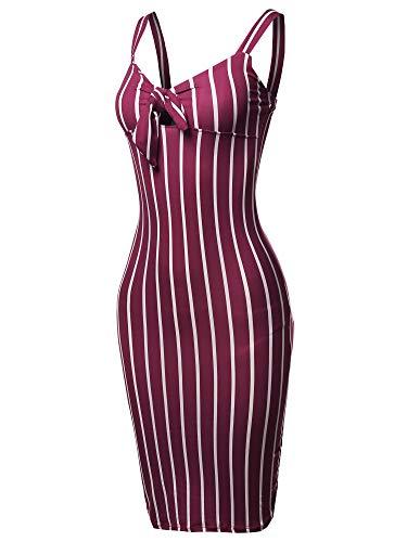 Made by Emma Stretch Sweet Heart Neckline with Self-Tie Stripe Sexy Dress Wine L