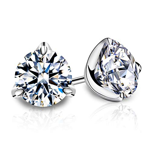 (Enameljewelries 18K Genuine Gold Post and Swarovski Cut CZ Stud Earrings with 3 Firm Sterling Silver Prong for Women. (1))