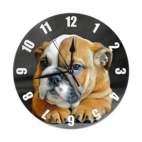 (ZNLDC Unique English Bulldog Puppy Dog Round Wall Clock Silent Non Ticking,Read Home/Office/School Clock )