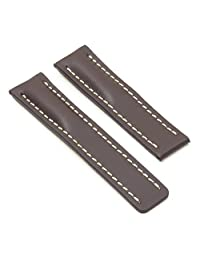 DASSARI Capital Dark Brown Smooth Leather Watch Band for BREITLING 24/22 24mm