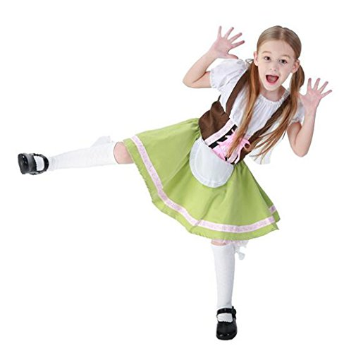 Girl Dress for Halloween Costumes German Beer Festival Clothing Maid Outfit Waitress Role-Playing Game Uniforms (S) -