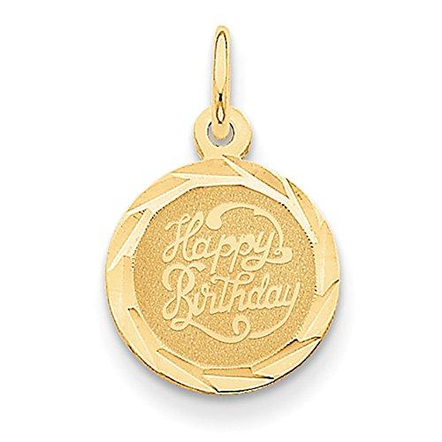 Lex & Lu 14k Yellow Gold Happy Birthday Disc Charm