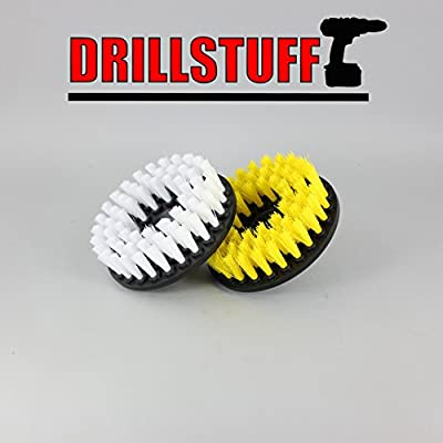 2 Piece, Soft & Medium drillbrush-Power Scrubbing Brush Drill Attachment for Cleaning Showers, Tubs, Bathrooms, Tile, Grout, Carpet, Tires, Boats by Drillstuff