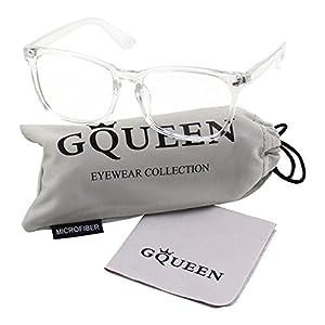 GQUEEN 201582 Large Oversized Frame Horn Rimmed Clear Lens Glasses,Transparent