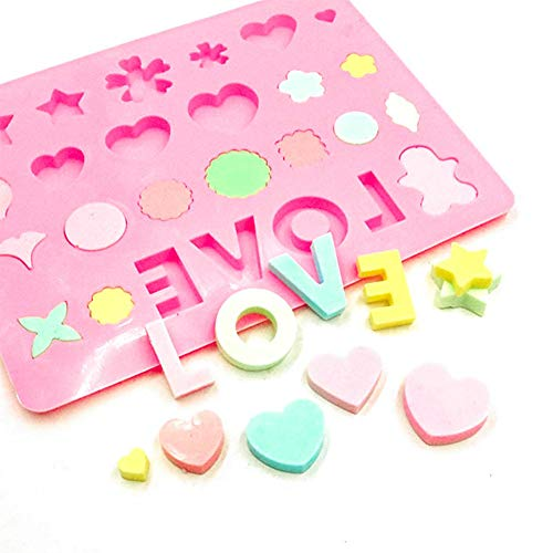 (DIY Silicone Mold Multi Shapes mould for Chocolate, candy, jelly, pudding, cake decoration (love))