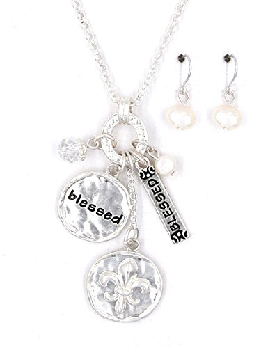 Womens Silver Tone Blessed Charm Fleur De Lis Necklace and Earring Set.