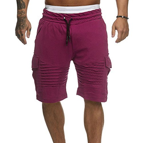 (Mens Shorts,LuluZanm Male Fashion Swim Trunks Breathable Sweatpants Beach Surfing Running Sport Pants Red)