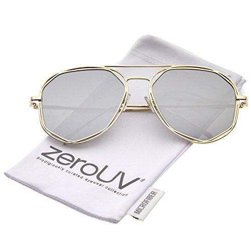 zeroUV - Geometric Hexagonal Metal Frame Colored Mirror Flat Lens Aviator Sunglasses 60mm (Gold / Silver - Ant Grey Sunglasses