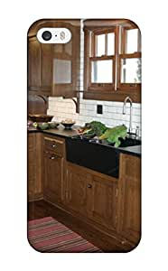 Tpu Case Cover For Iphone 5/5s Strong Protect Case - Kitchen With White Subway Tile And Dark Wood Cabinetry Design