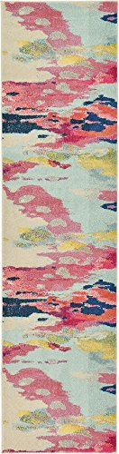 Modern Collection Runner - Unique Loom Estrella Collection Modern Abstract Pink Runner Rug (2' 7 x 10' 0)