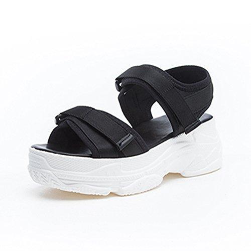[HR株式会社] 厚底サンダル レディース 歩きやすい スポーツサンダル 厚底靴  ヒール  約6.5cm  オープントゥ ファッションサンダル マジックテープ  美脚 おしゃれ 身長UP
