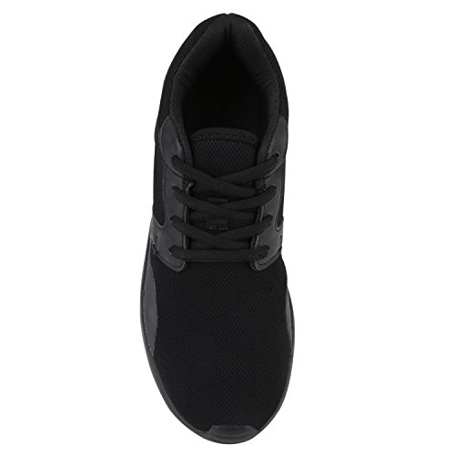 Damen Sportschuhe Übergrößen Trendfarben Runners Sneakers Laufschuhe Fitness Prints Flandell All Schwarz