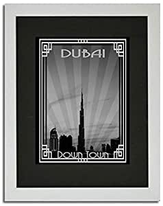Dubai Skyline Down Town - Black And White With Silver Border F02-nm (a5) - Framed