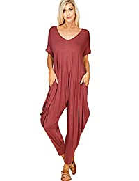 9791c962161b Annabelle Women s Comfy Casual Short Sleeves Harem Long Pants Jumpsuits  with Pockets