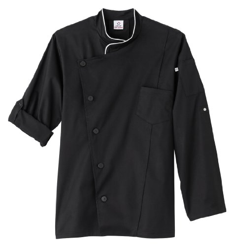 White Swan Five Star Men's Long Sleeve Executive Stretch Chef Coat (Black 4X) - Executive Chef Coat