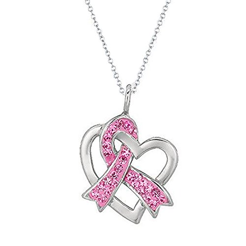Breast Cancer Awareness Heart - Sterling Silver Heart Breast Cancer Awareness Crystal Pink Ribbon Charm Necklace 20 Inches