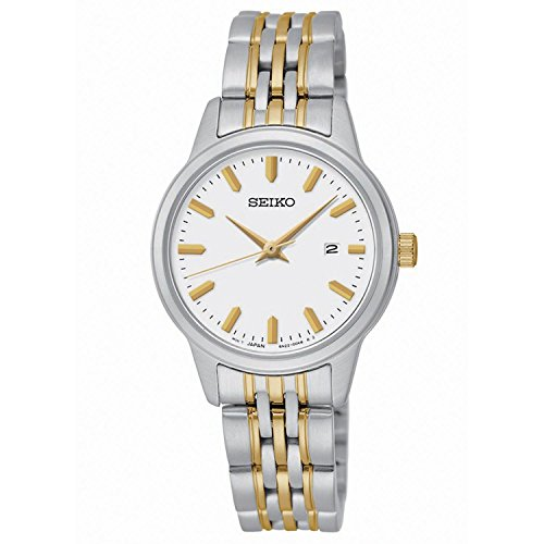 Seiko Quartz White Dial Two-Tone Stainless Steel Women's Watch SUR834 (Kinetic Seiko Military)