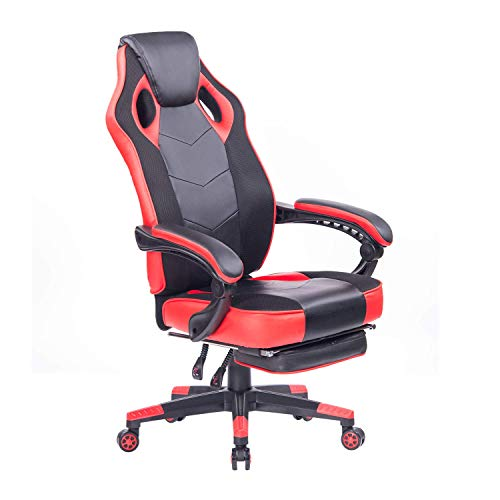 WOYE Gaming Chair with Footrest Racing Computer PC Chair Ergonomic High Back Swivel Executive Office Chair Mesh Leather Reclining Desk Chair (Red 3)