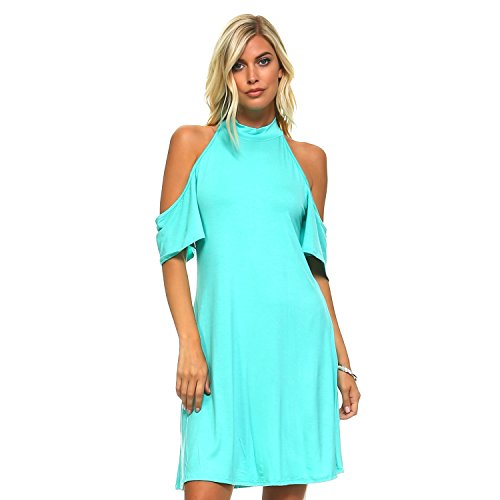 Isaac Liev Cutout Cold Shoulder Flowy Choker Dress (X-Large, Turquoise)