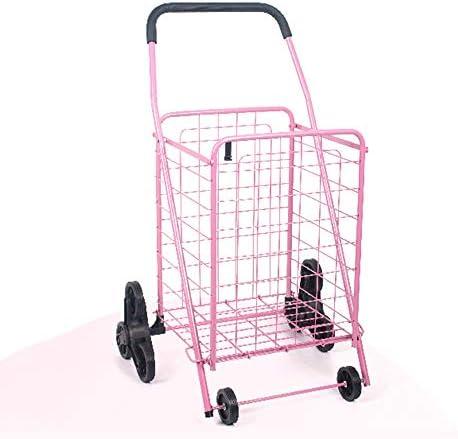 ZR Einkaufslaufkatze Faltbare Stahlrohr leichte verschleißfeste alte Mann Aufstieg Gebäude Gummirad, Last 20 kg geeignet zum Einkaufen, Klettern Treppe verwenden (Farbe : Rosa)