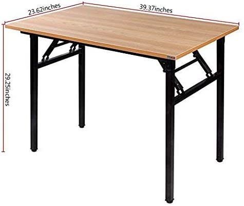 Need Folding Desk for Home Office 39-3 8 Length Modern Folding Table Computer Desk No Install Needed Teak Color Desktop Black Frame, AC5BB 10060